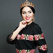 """Одежда ручной работы. Ярмарка Мастеров - ручная работа Вышитое чёрное платье """"Розы"""" вышивка гладью. Handmade."""
