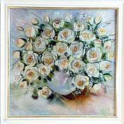 Картины и панно ручной работы. Ярмарка Мастеров - ручная работа Белые розы. Handmade.