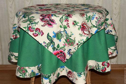 """Текстиль, ковры ручной работы. Ярмарка Мастеров - ручная работа. Купить """"Английский сад"""" Льняная скатерть+наперон. Handmade. Зеленый"""