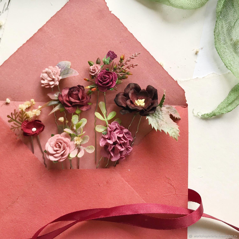 Шпильки c бордовыми цветами, шпильки для невесты, Украшения, Санкт-Петербург, Фото №1