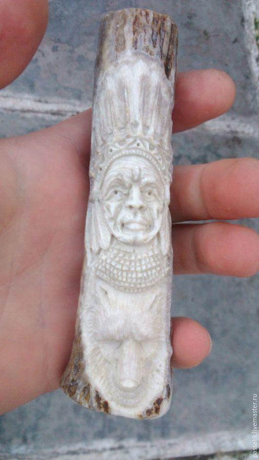 """Оружие ручной работы. Ярмарка Мастеров - ручная работа. Купить Рукоять """"Индеец и волк"""". Handmade. Индеец, тотем"""