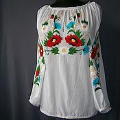 Одежда ручной работы. Ярмарка Мастеров - ручная работа Блуза-вышиванка из шелка белая готовая и на заказ Лето. Handmade.