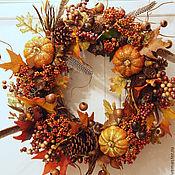Для дома и интерьера ручной работы. Ярмарка Мастеров - ручная работа Осеннее украшение на дверь. Handmade.