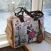 Сумки и аксессуары handmade. Livemaster - original item Leather women`s bag with painting to order for Tatiana. Handmade.