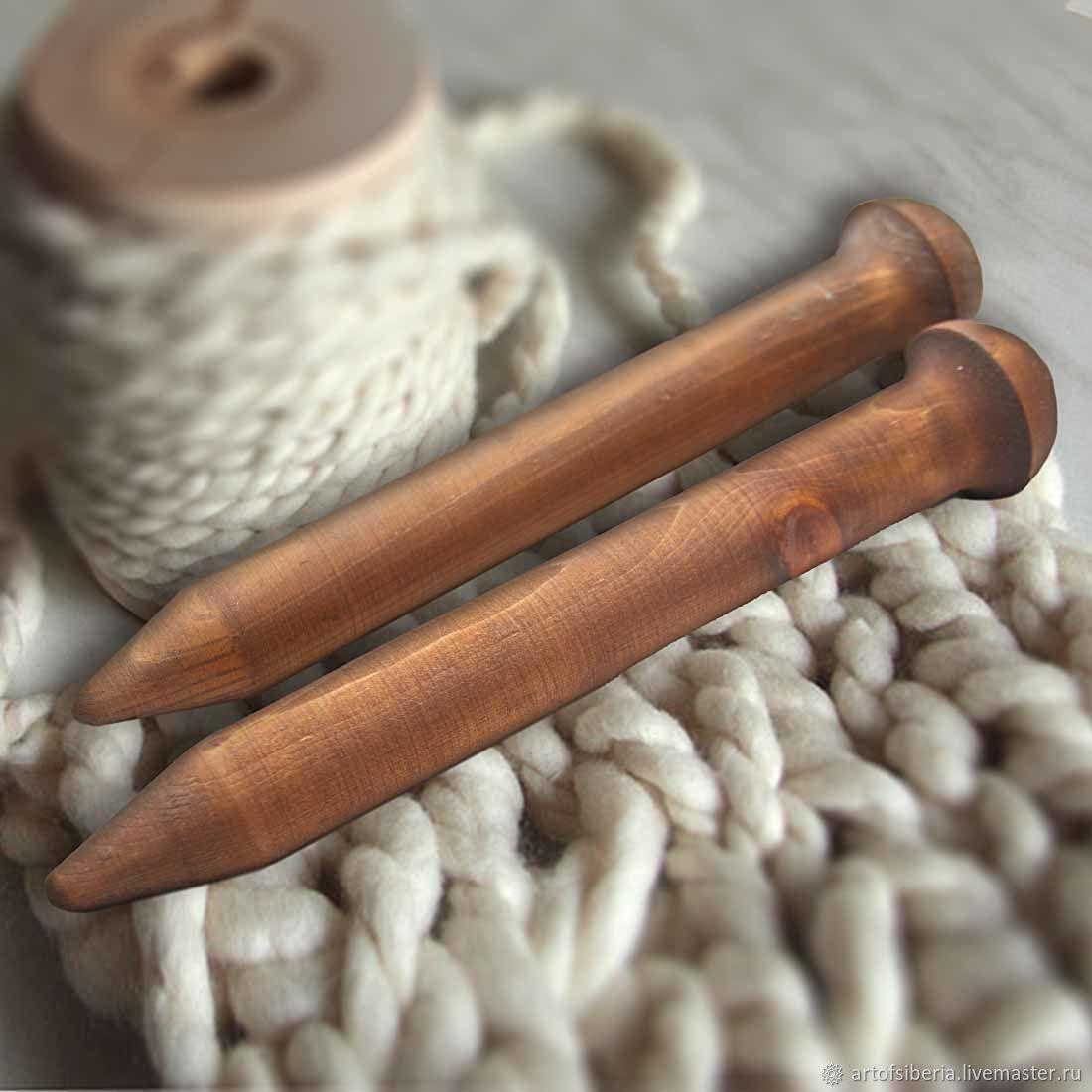 Giant knitting needle for Thick Yarn made of Wood 35mm/300#15, Knitting Needles, Novokuznetsk,  Фото №1
