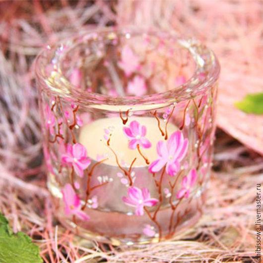 """Подсвечники ручной работы. Ярмарка Мастеров - ручная работа. Купить подсвечник  """"Cакура"""". Handmade. Розовый, коричневый, подсвечник из стекла, подарок"""