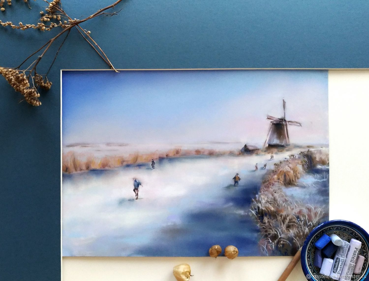 Painting pastel Winter Holland (winter landscape mill), Pictures, ,  Фото №1