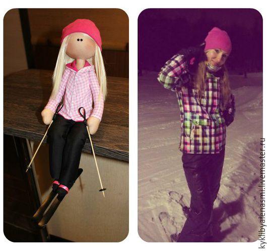 Портретные куклы ручной работы. Ярмарка Мастеров - ручная работа. Купить Лыжница. Handmade. Розовый, кукла интерьерная