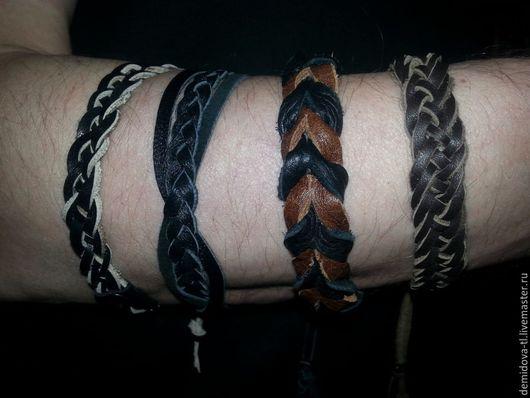 Браслеты ручной работы. Ярмарка Мастеров - ручная работа. Купить браслеты из кожи унисекс. Handmade. Коричневый, браслет мужской кожаный