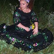"""Одежда ручной работы. Ярмарка Мастеров - ручная работа Вышитое платье""""НОЧНЫЕ ФИАЛОЧКИ"""" авторская работа. Handmade."""