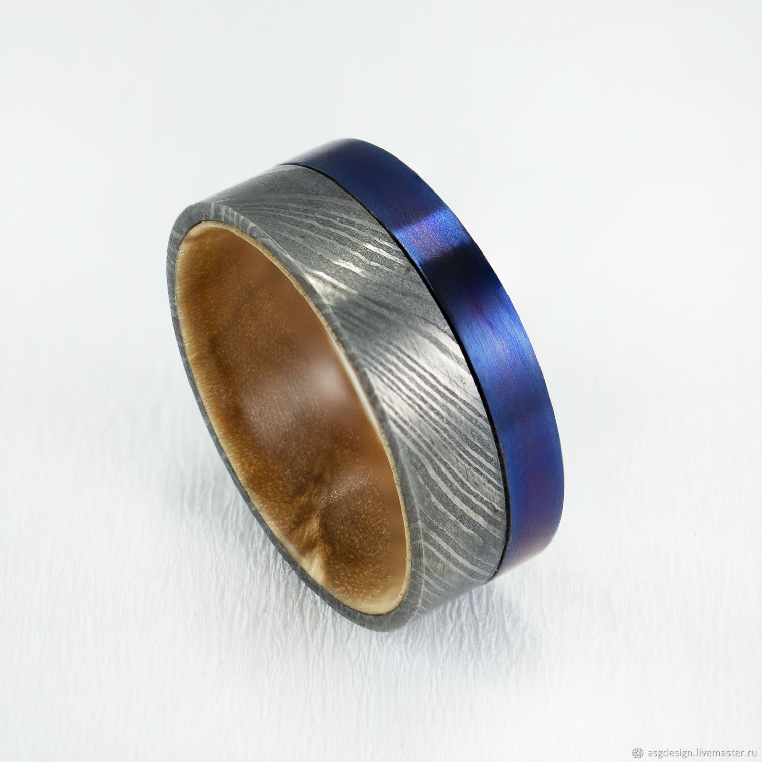 Ring made of damask steel titanium and Karelian birch, Rings, Moscow,  Фото №1