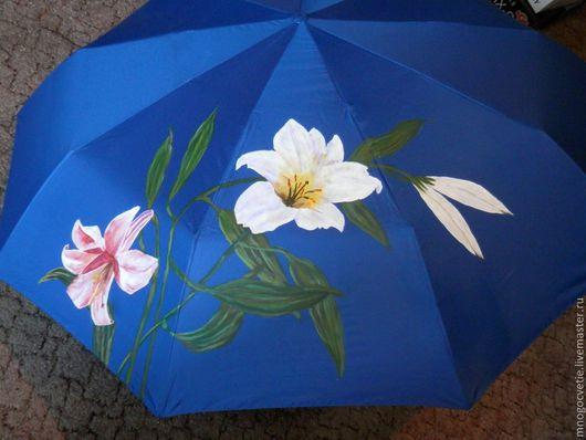 """Зонты ручной работы. Ярмарка Мастеров - ручная работа. Купить зонтик """"Лилии"""". Handmade. Цветочный, зонтик, зонт с росписью, лилии"""