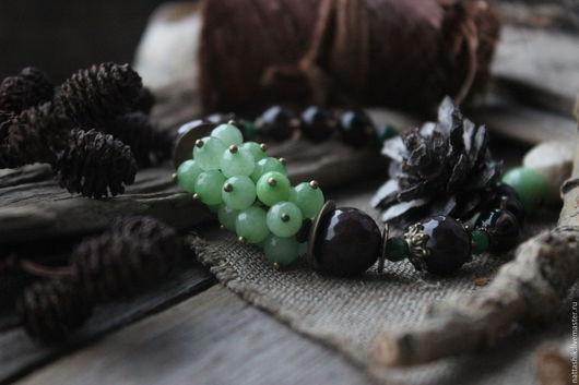 Браслеты ручной работы. Ярмарка Мастеров - ручная работа. Купить Мята и шоколад - браслет. Handmade. Мятный, зелень, кофе, лес