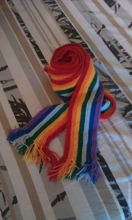 Шарфы и шарфики ручной работы. Ярмарка Мастеров - ручная работа. Купить Радуга. Handmade. Ярко-красный, радужный, пестрый, шарф