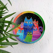 Посуда handmade. Livemaster - original item Wall decorative plate March Cats 21 cm hand painted. Handmade.