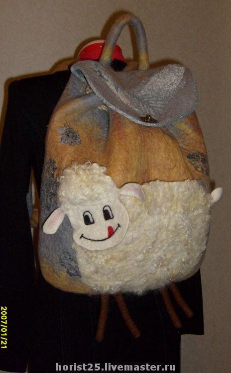 """Рюкзаки ручной работы. Ярмарка Мастеров - ручная работа. Купить Рюкзачок """"Овечка Долли"""".. Handmade. Сумка, нуновойлок, войлочный рюкзак"""
