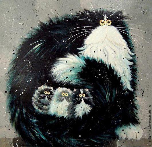 Вышивка ручной работы. Ярмарка Мастеров - ручная работа. Купить Алмазная вышивка. Коты от Kim Haskins. Purrtection. 20х20см. Handmade.