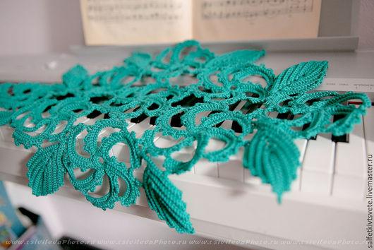 Текстиль, ковры ручной работы. Ярмарка Мастеров - ручная работа. Купить Салфетка крючком, малахит 17 элементов. Handmade. Зеленый