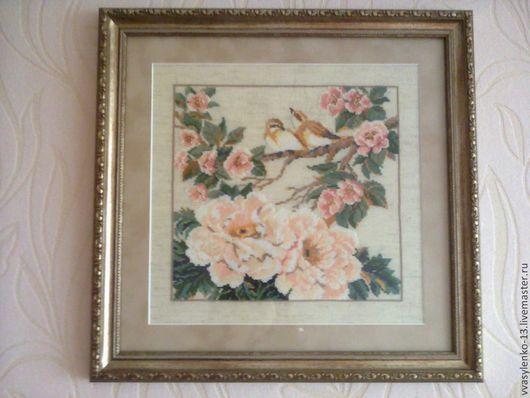 Картины цветов ручной работы. Ярмарка Мастеров - ручная работа. Купить Вышивка крестиком. Handmade. Бежевый, птичка на ветке