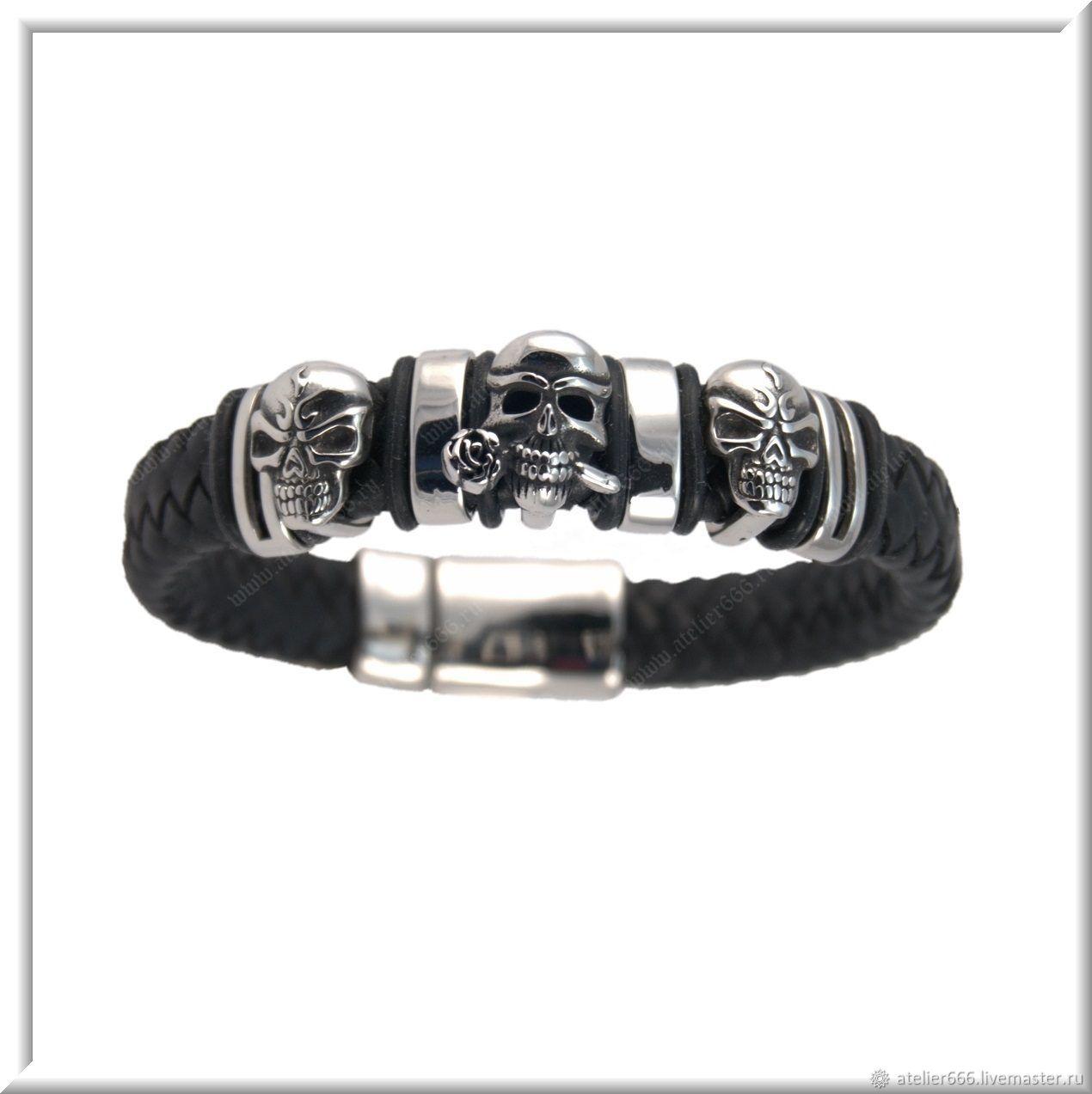 Women's leather bracelet No. 4 accessories steel 316L, Regaliz bracelet, Moscow,  Фото №1
