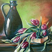"""Картина маслом""""Натюрморт с тюльпанами""""40х50 (весна,подарок женщине"""