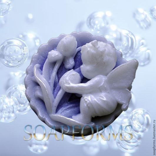 Силиконовая форма для мыла `Феечка на цветке` 2D