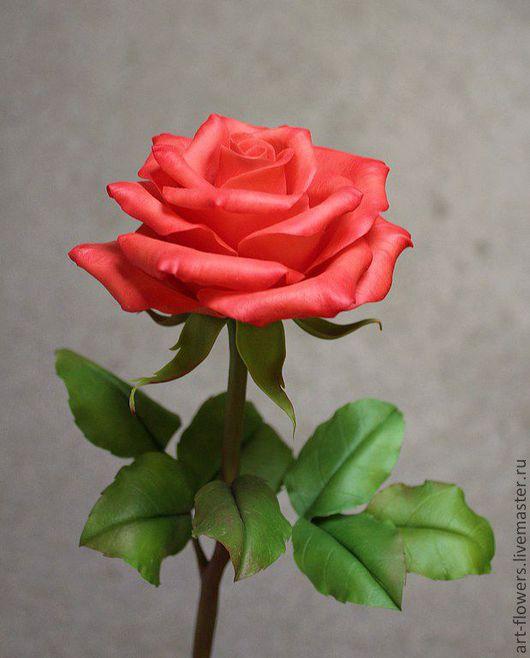 Интерьерные композиции ручной работы. Ярмарка Мастеров - ручная работа. Купить Алая роза (холодный фарфор). Handmade. Ярко-красный