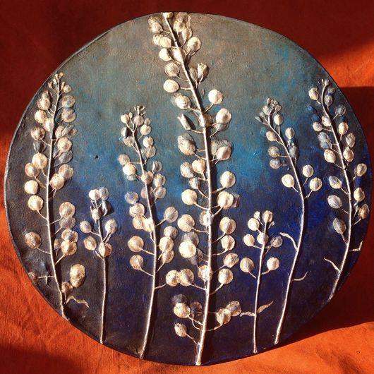 Картины цветов ручной работы. Ярмарка Мастеров - ручная работа. Купить Лунария.. Handmade. Тёмно-синий, панно настенное, акрил