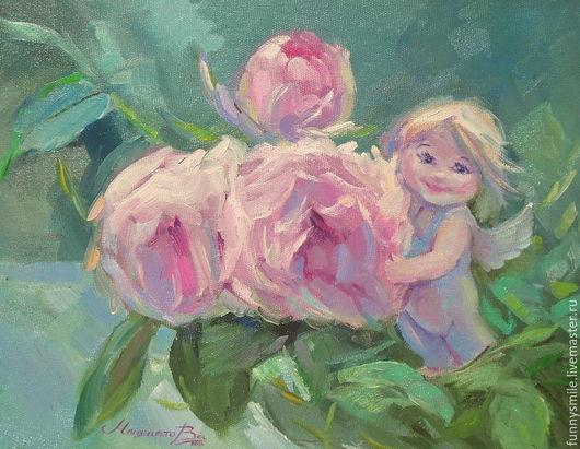 Картины цветов ручной работы. Ярмарка Мастеров - ручная работа. Купить Картина маслом на холсте. Ангел цветущего сада.. Handmade.