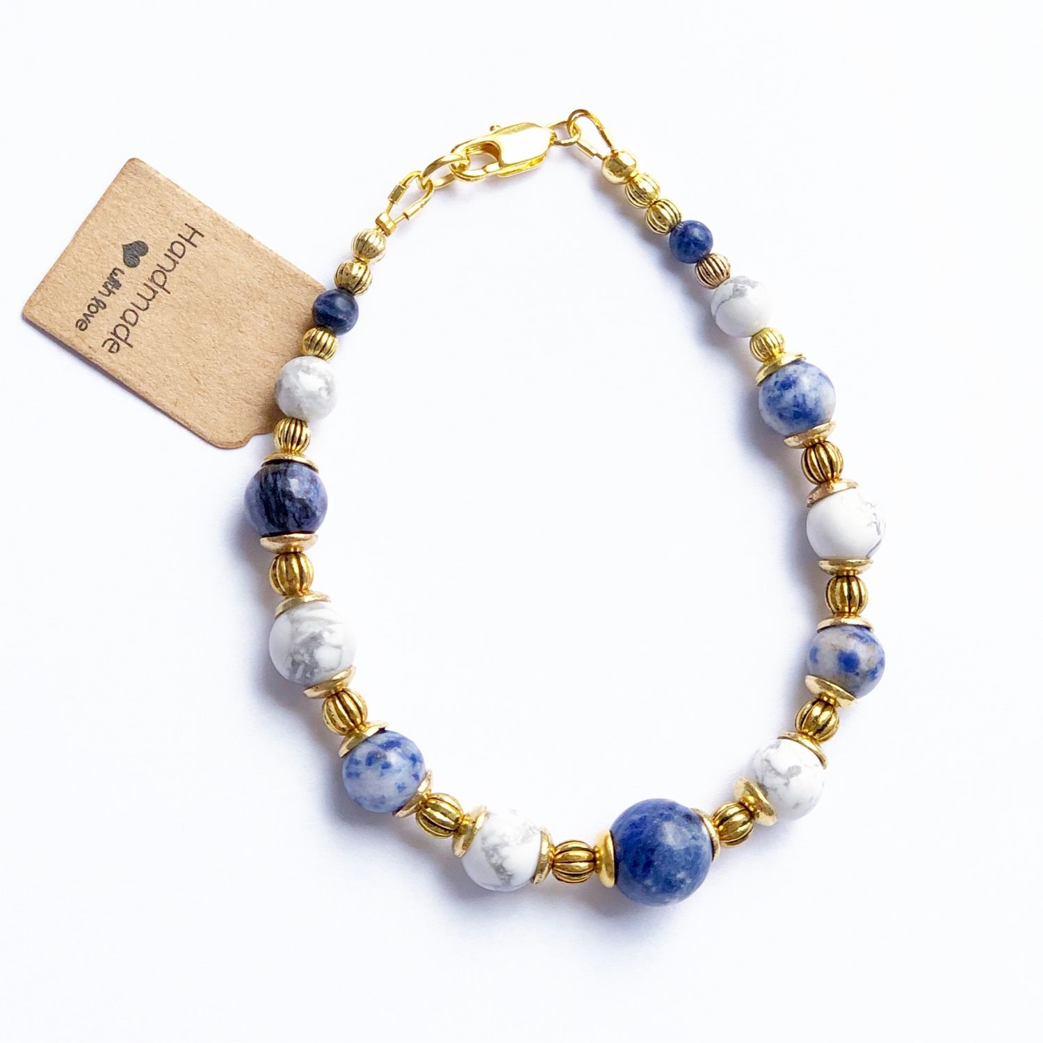 Bracelet 'Aphrodite' from cacholong and sodalite, Bead bracelet, Moscow,  Фото №1