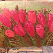 Картины ручной работы. Ярмарка Мастеров - ручная работа Картина Весенние тюльпаны. Handmade.