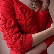 Одежда ручной работы. Ярмарка Мастеров - ручная работа Вязаный свитер из шерсти листья на ветке. Handmade.