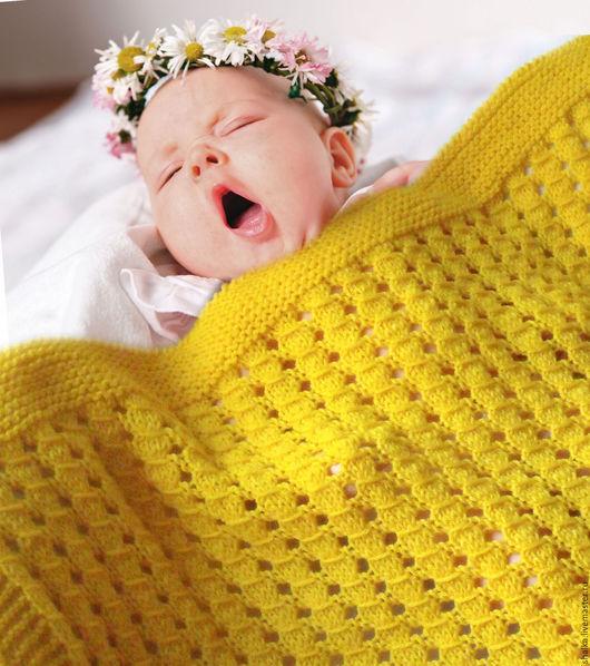 """Пледы и одеяла ручной работы. Ярмарка Мастеров - ручная работа. Купить Плед """"Янтарик"""". Handmade. Желтый, плед на выписку, фотосессия"""