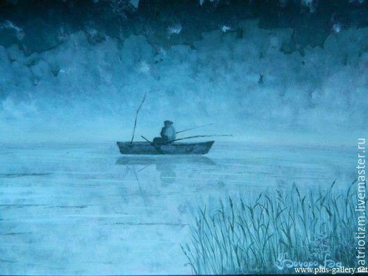 """Пейзаж ручной работы. Ярмарка Мастеров - ручная работа. Купить Пейзаж, картина """"Рыбак"""". Handmade. Разноцветный, картина, пейзаж, рыбалка"""