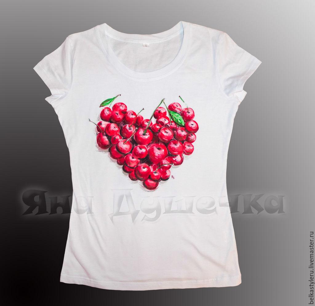"""Футболка женская с принтом на заказ """"Вишневое сердце ... - photo#21"""