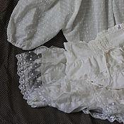 Одежда ручной работы. Ярмарка Мастеров - ручная работа Юбка белая с кружевом и блузка, летний комплект, кружево, БОХО, оборки. Handmade.