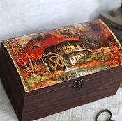 handmade. Livemaster - original item Box chest Old mill large solid pine. Handmade.