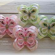 """Работы для детей, handmade. Livemaster - original item Резинки для волос """"Бабочки"""" в технике канзаши. Handmade."""