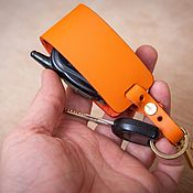Аксессуары handmade. Livemaster - original item Car key holder (genuine leather and cast brass). Handmade.