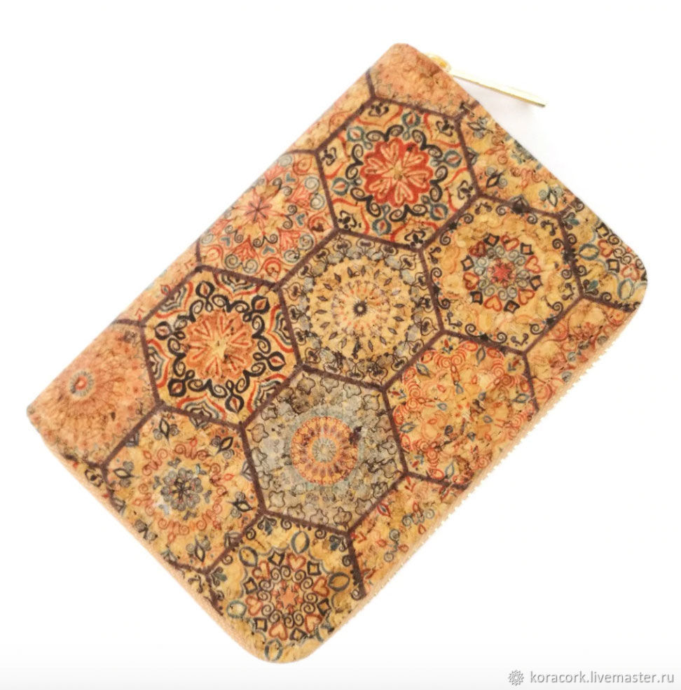 Eco cork wallet made of natural wood with print, Wallets, Moscow,  Фото №1