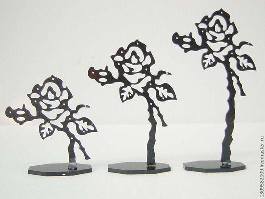 Статуэтки ручной работы. Ярмарка Мастеров - ручная работа. Купить Подставки для бижутерии Розы.. Handmade. Черный, бабочки, акрил