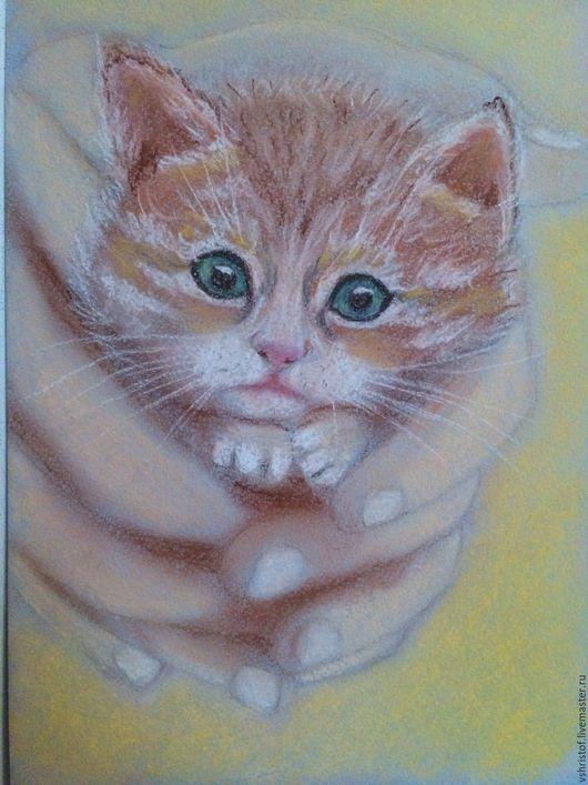 Животные ручной работы. Ярмарка Мастеров - ручная работа. Купить Нежность. Handmade. Комбинированный, котик, котенок, картина пастелью