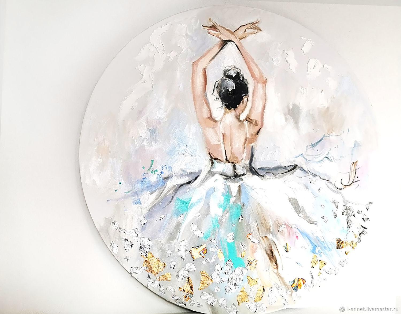 Жемчужная бирюза - текстурная картина с балериной, Картины, Москва,  Фото №1