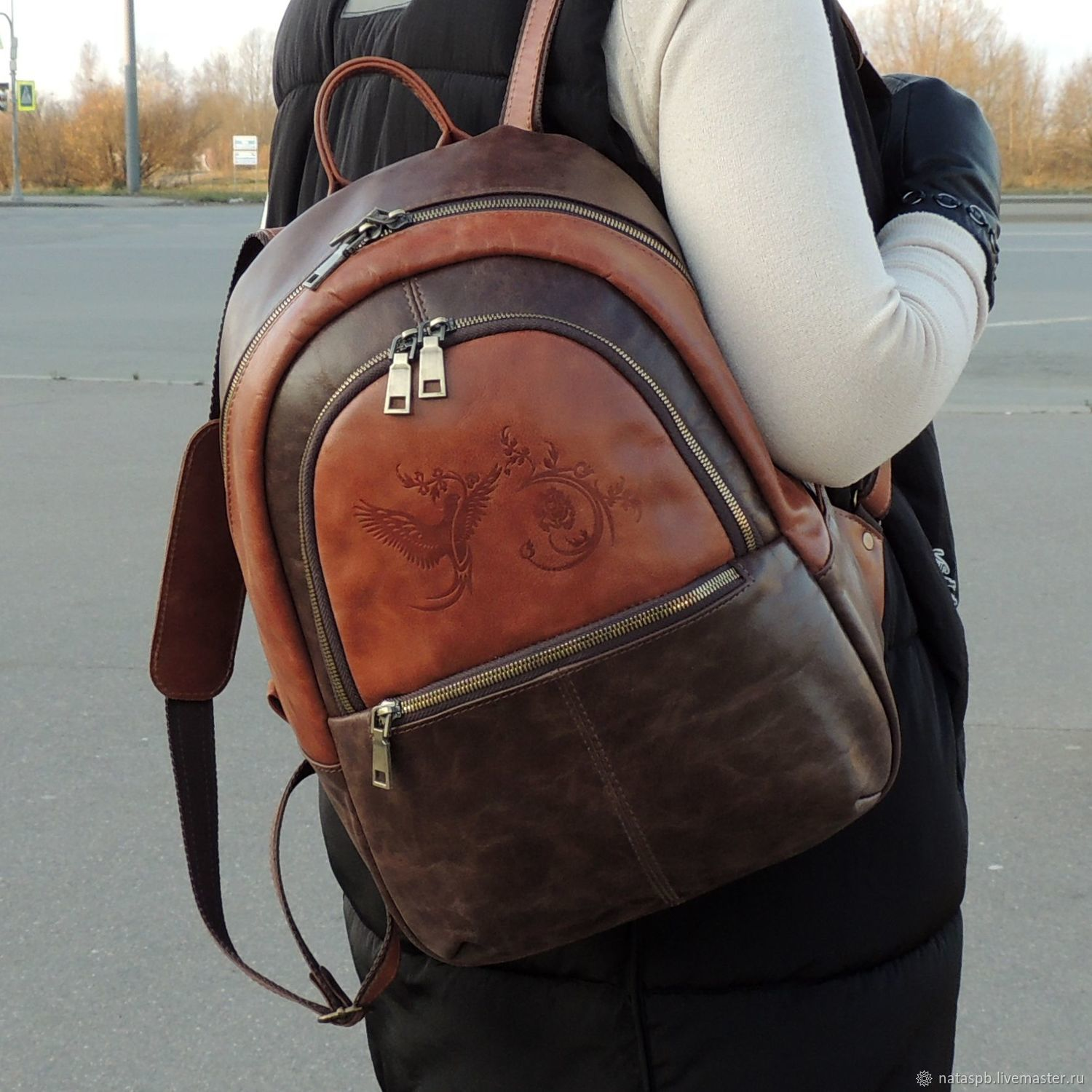 Backpack leather female brown Leona Mod R43-602-1, Backpacks, St. Petersburg,  Фото №1
