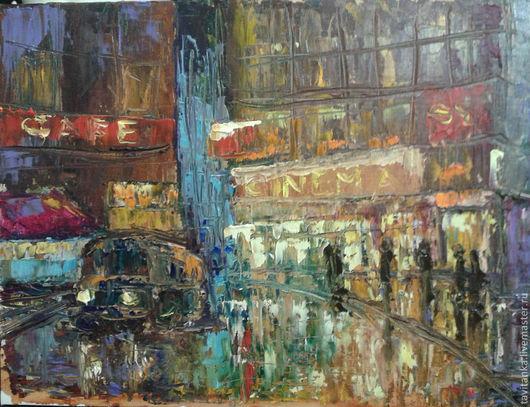 Город ручной работы. Ярмарка Мастеров - ручная работа. Купить Нью-Йорк ночью. Handmade. Картина в подарок, картина для интерьера
