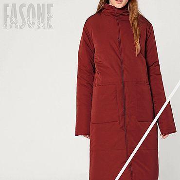 Одежда ручной работы. Ярмарка Мастеров - ручная работа Пуховики: Стеганое женское пальто длинное бордовое осеннее. Handmade.