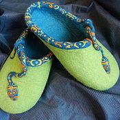 """Обувь ручной работы. Ярмарка Мастеров - ручная работа Тапки валяные домашние """"Змейки"""". Handmade."""