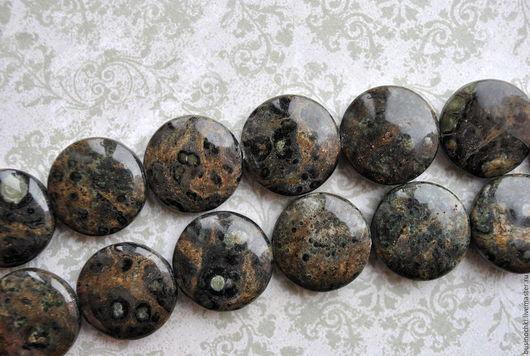Для украшений ручной работы. Ярмарка Мастеров - ручная работа. Купить ЯШМА КАМБАБА гладкие бусины монетки. Handmade. Хаки