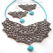 Украшения handmade. Livemaster - original item Necklace and earrings, Linen and turquoise, gray fishnet choker collar light. Handmade.