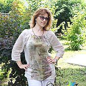 """Одежда ручной работы. Ярмарка Мастеров - ручная работа Блуза """"Шепот летних трав"""" - шелк, хлопок, экопринт. Handmade."""